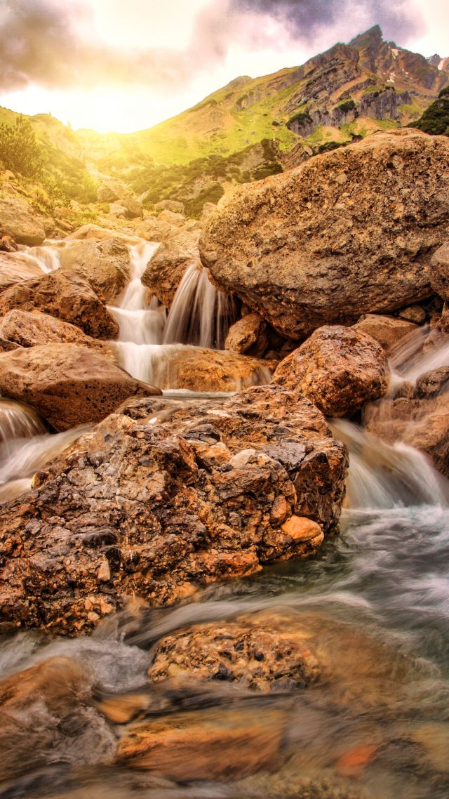 Waterfall, Alpine, 4K (vertical)