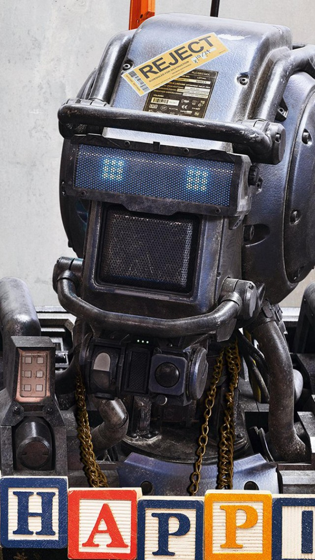 Chappie, Best Movies of 2015, robot, police, wallpaper, gun (vertical)