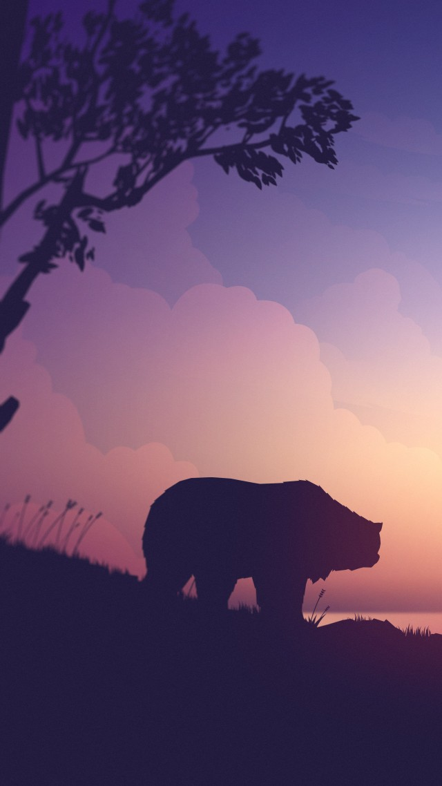 sunset, bear, deer, 8K (vertical)