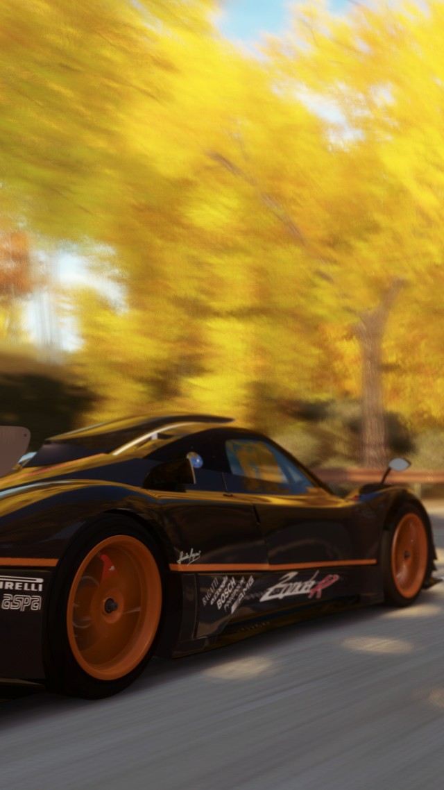 Forza Horizon, 5k, 4k wallpaper, game, car, dodge viper, black, orange, yellow, autumn, race, road, tree, speed, screenshot, 4k, 5k (vertical)