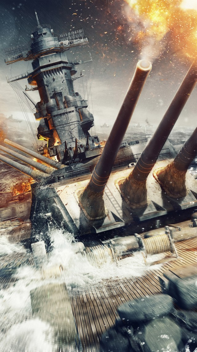 World of Warships, game, MMORPG, simulator, sea, water, battle, fire, ship, storm, screenshot, 4k, 5k, pc, 2015 (vertical)