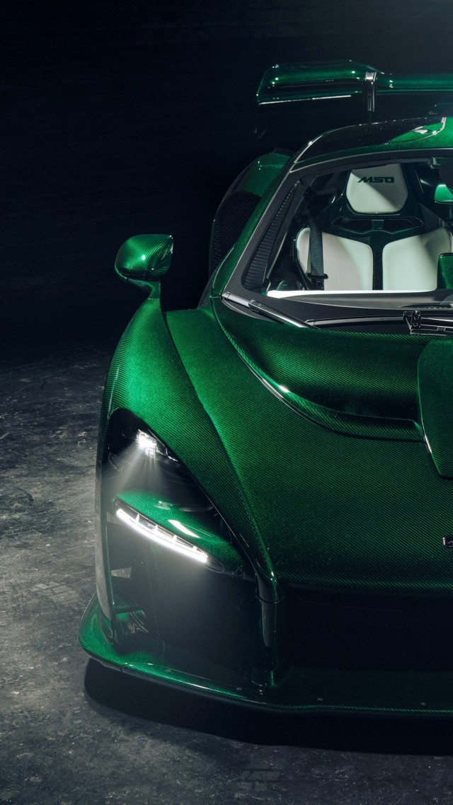 McLaren Senna GTR Green Carbon, supercar, 2018 Cars, 4K (vertical)
