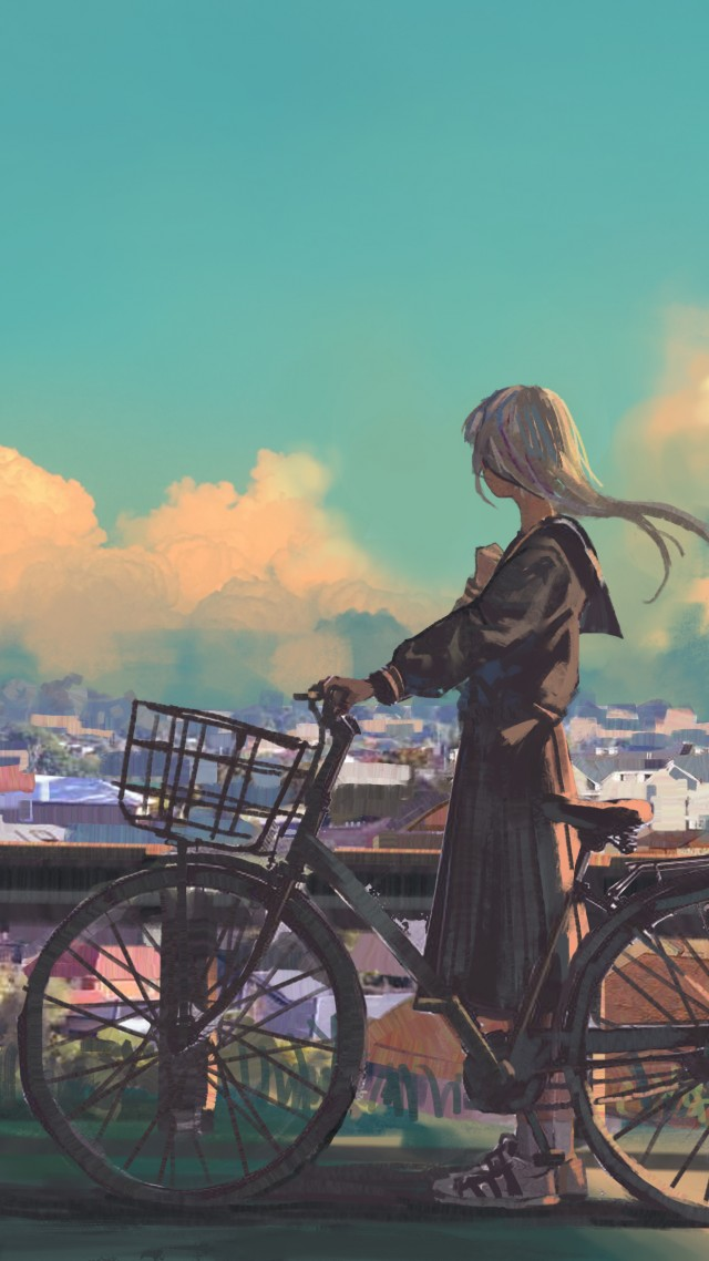 girl, bicycle, city, 4K (vertical)