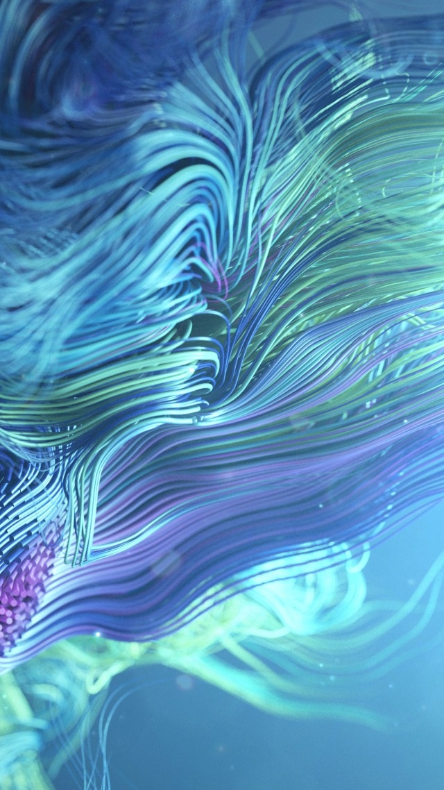 waves, lines, abstract, 3D, colorful, 4K (vertical)