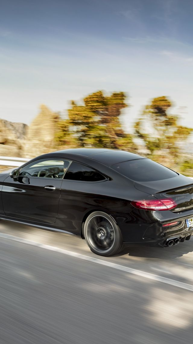 Mercedes-Benz C43 AMG Coupe, 2019 Cars, 4K (vertical)