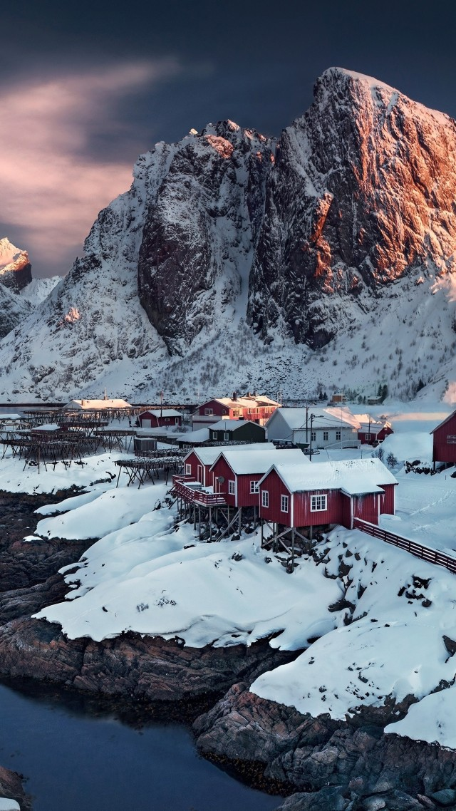 village, 4k, HD wallpaper, Hamnoy, Norway, sunset, water (vertical)