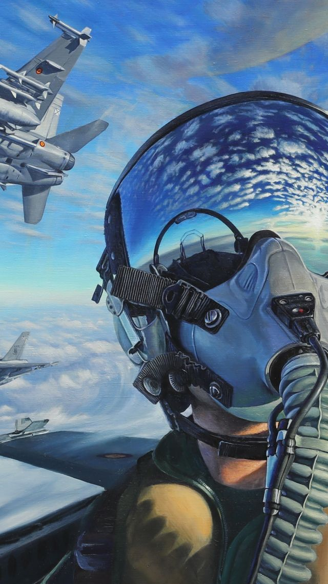 pilot, fighter aircraft, artwork, 4K (vertical)