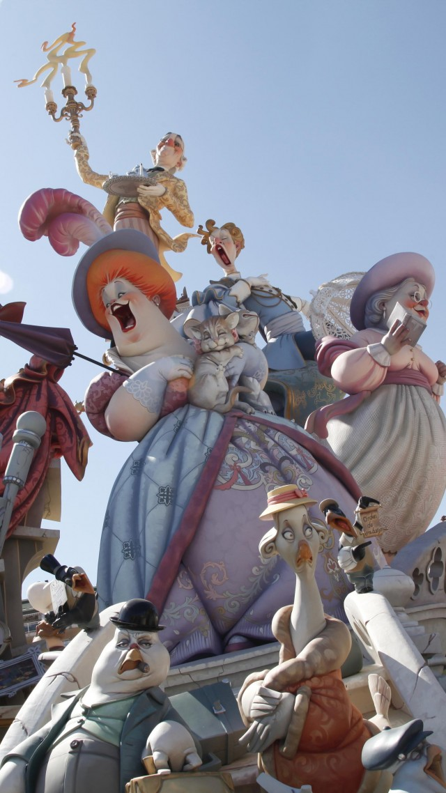 Las Fallas, holiday Valencian Community, Spain, fire, spring, burning of giant puppets, event (vertical)