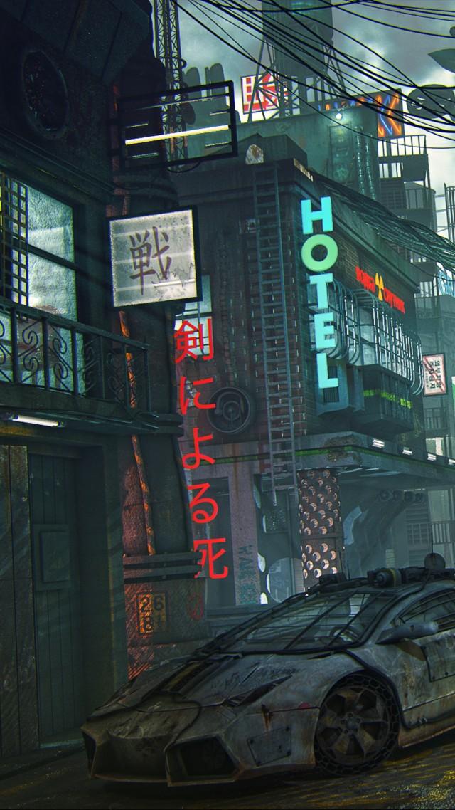 Ship A Car >> Wallpaper futuristic, cyberpunk, future world, 4K, Art #20523