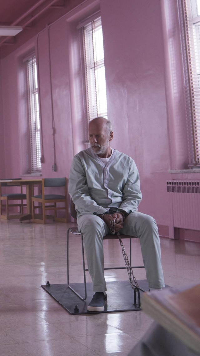 Glass 2019, Samuel L. Jackson, James McAvoy, Bruce Willis, 8K (vertical)