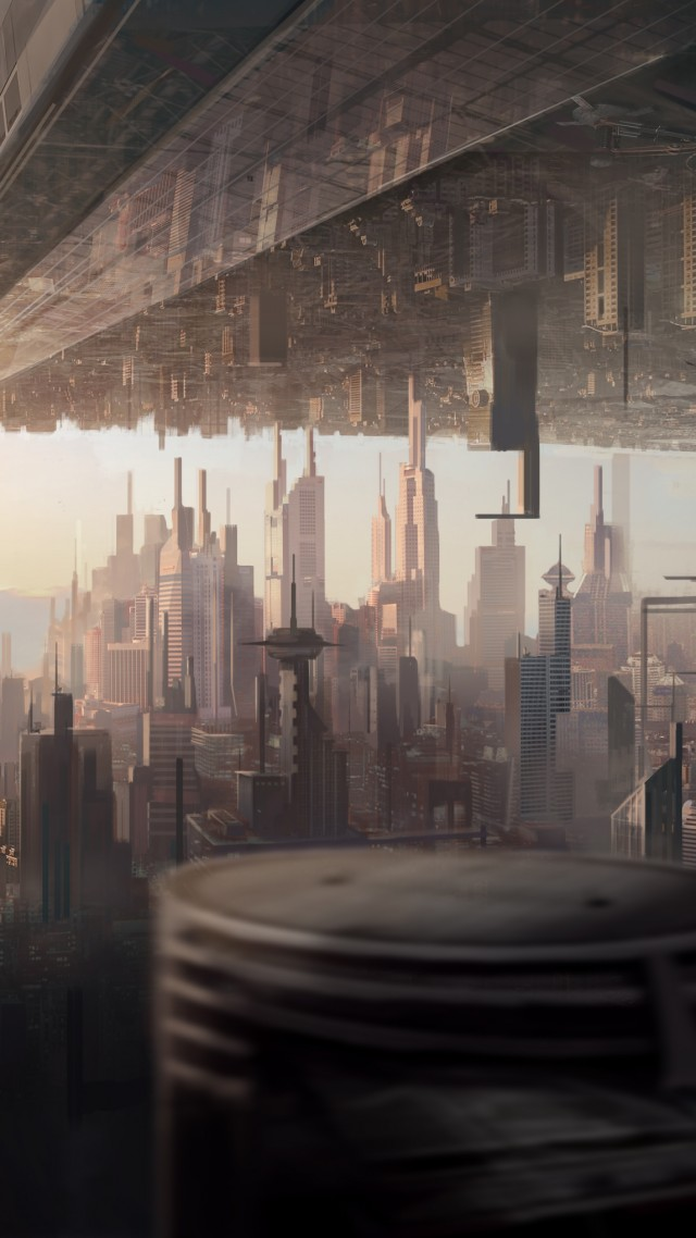 matte painting, art, city, urban, futuristic, sci-fi, sunset (vertical)