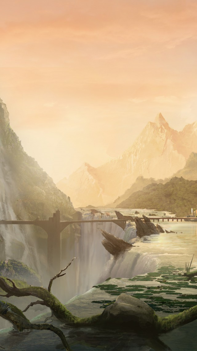 matte painting, 5k, 4k wallpaper, 8k, art, village, city, forest, waterfall, bridge, river (vertical)