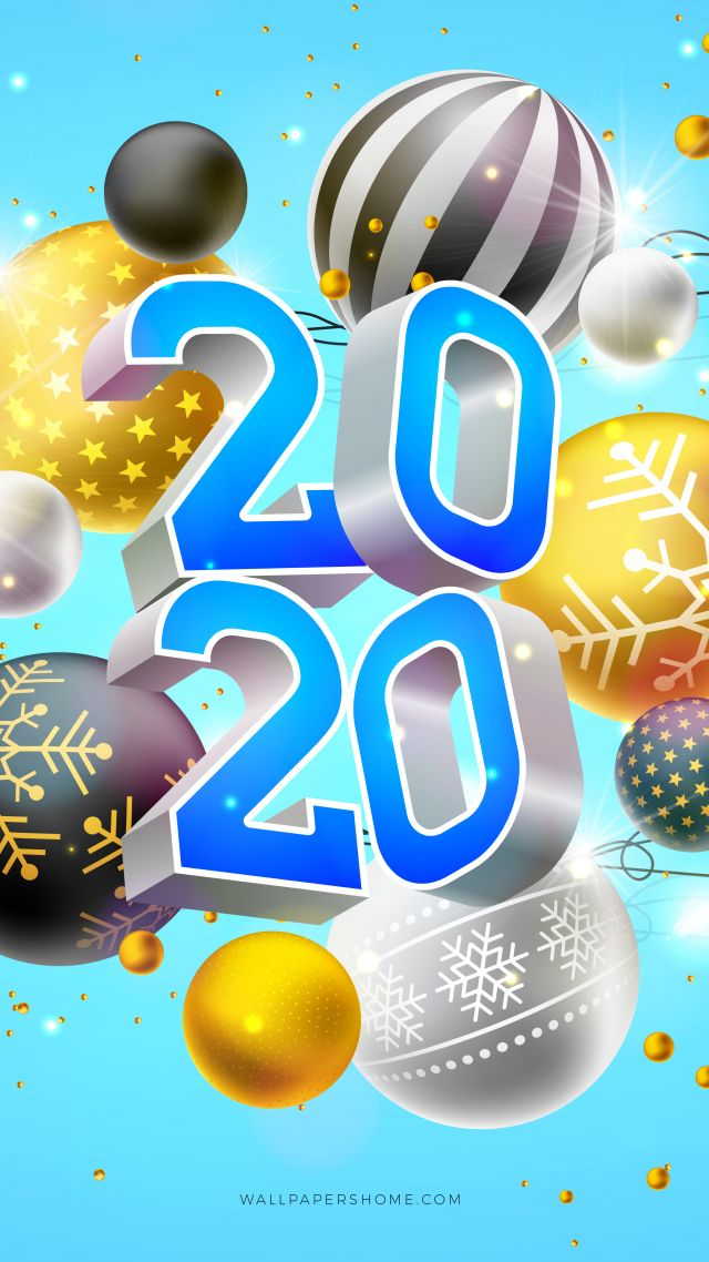 New Year 2020, Christmas, poster, 8k (vertical)