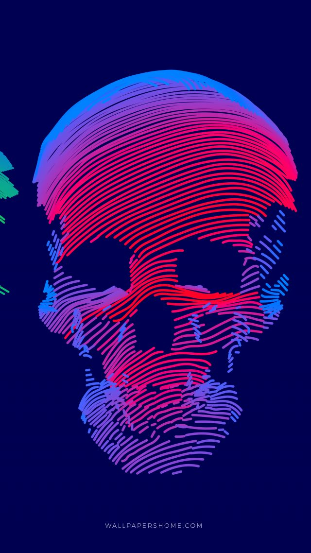 abstract, 3D, colorful, skull, 8k (vertical)