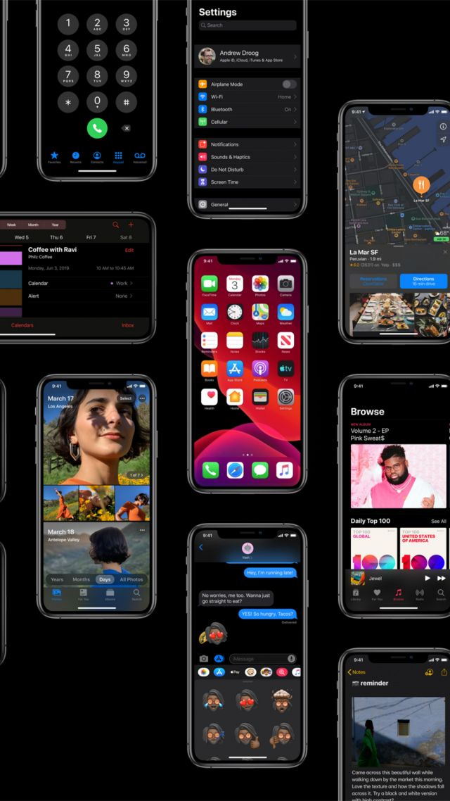 iOS 13, dark, interface, GUI, WWDC 2019 (vertical)