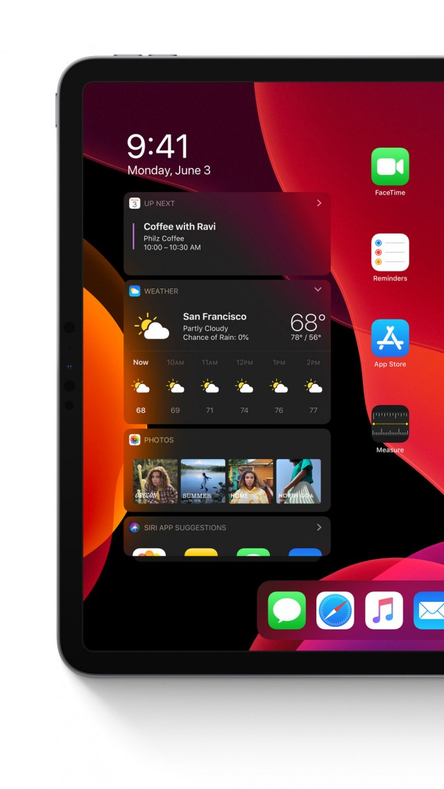 iPadOS, dark, interface, GUI, WWDC 2019, 4K (vertical)