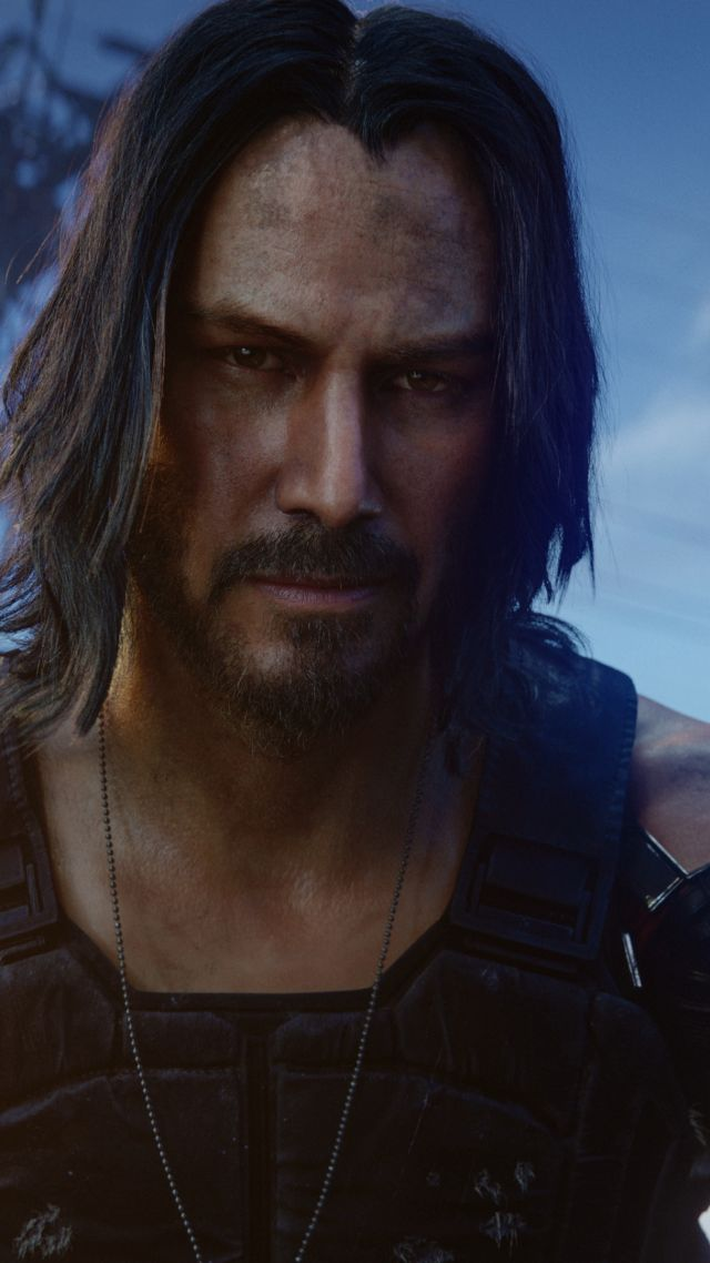 Cyberpunk 2077, Keanu Reeves, E3 2019, screenshot, 4K (vertical)