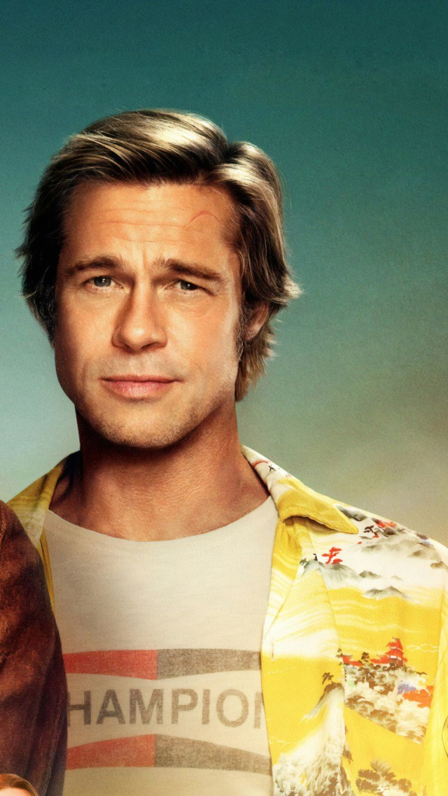 Once Upon A Time In Hollywood, Brad Pitt, Leonardo DiCaprio, 4K (vertical)