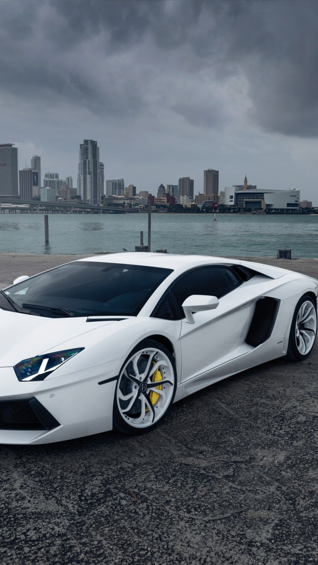 aventador, lamborghini, supercar, white, city (vertical)