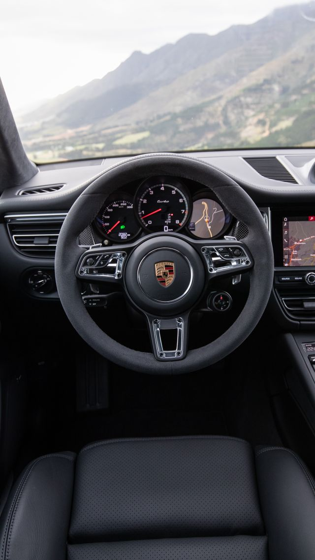 Porsche Macan Turbo, interior, 2020 cars, SUV, crossover, 5K (vertical)