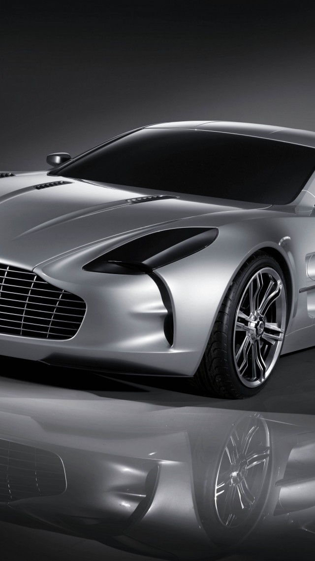Aston Martin One-77, supercar, Aston Martin, limited edition, luxury cars, sports car, silver (vertical)