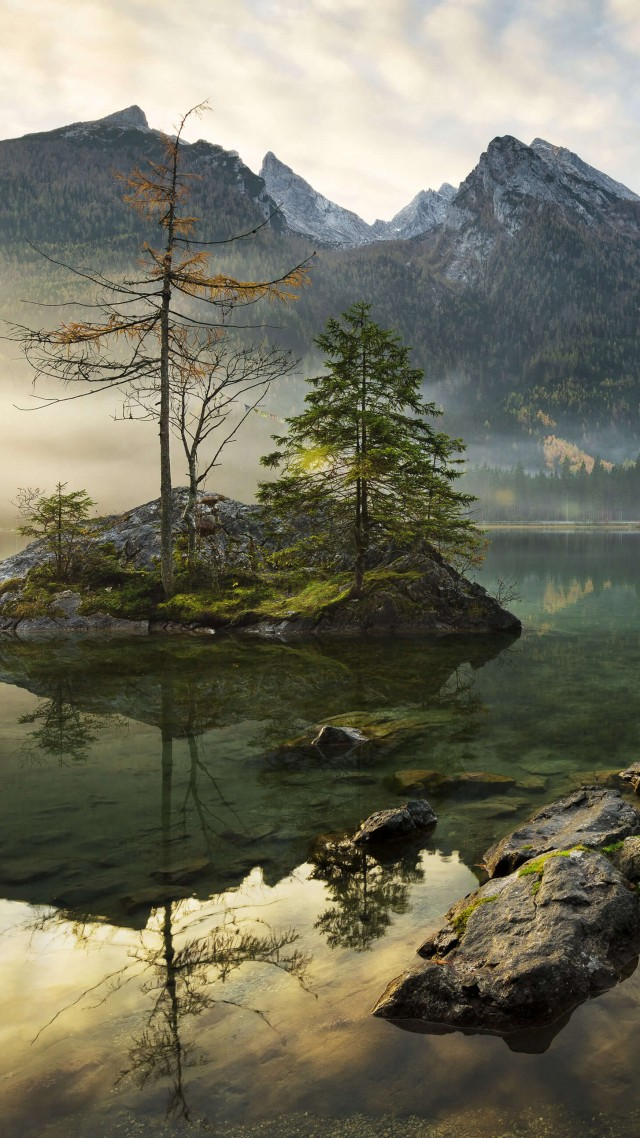 Lake Hintersee, Berchtesgaden, Bavaria, Germany, mountains, Alps, 4K (vertical)