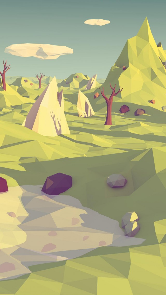 polygon, 4k, 5k wallpaper, landscape, nature, low poly (vertical)
