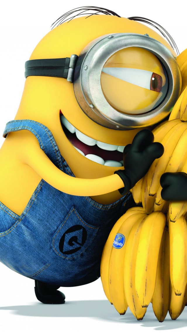 Minions, 2015, cartoon, movie, Allison Janney, Steve Coogan, Kevin, Bob, bananas, white background, yellow, funny (vertical)