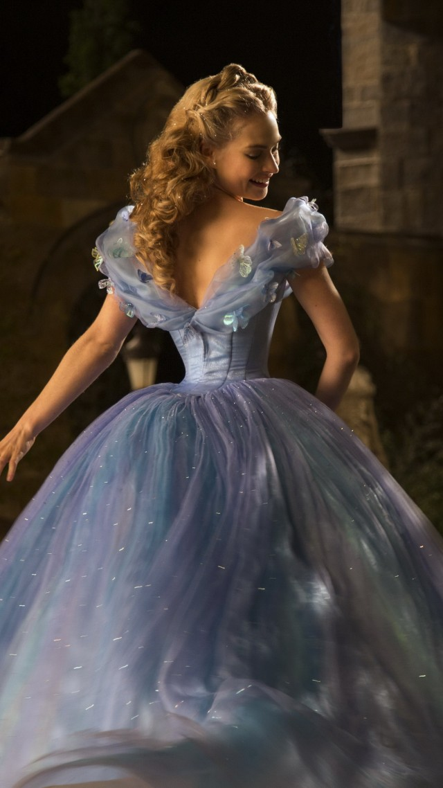 Cinderella, Best Movies of 2015, film, romantic, blue dress, blonde, fog, Lily James, Ella, Richard Madden, Prince Charming, Helena Bonham Carter, The Fairy Godmother (vertical)