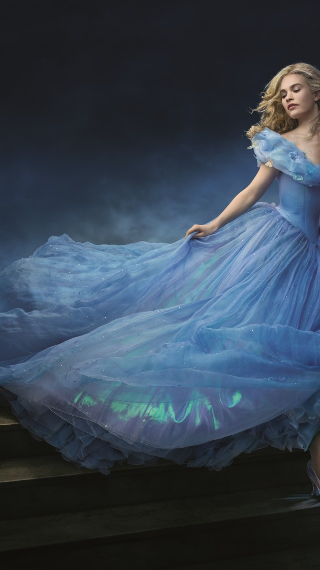 Cinderella, 2015, movie, film, romantic, blue dress, blonde, fog, Lily James, Ella, Richard Madden, Prince Charming, Helena Bonham Carter, The Fairy Godmother (vertical)