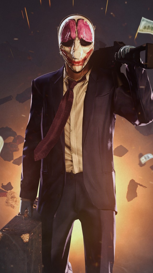 Payday 2, game, shooter, stealth, FPS, Houston, clown, suit, rifle, money, robbery, bank (vertical)