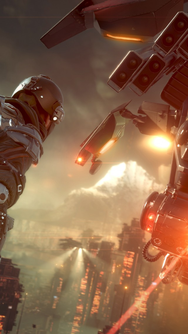 Killzone Shadow Fall, game, shooter, soldier, Vecta, VCA, Helghast, aircraft, Killzone, screenshot, PS4, 2014 (vertical)