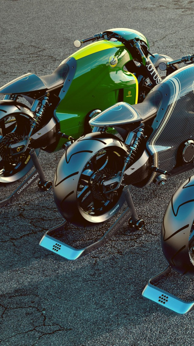 Lotus, sport bike, motorcycle, three, green, carbone, white, 3d (vertical)