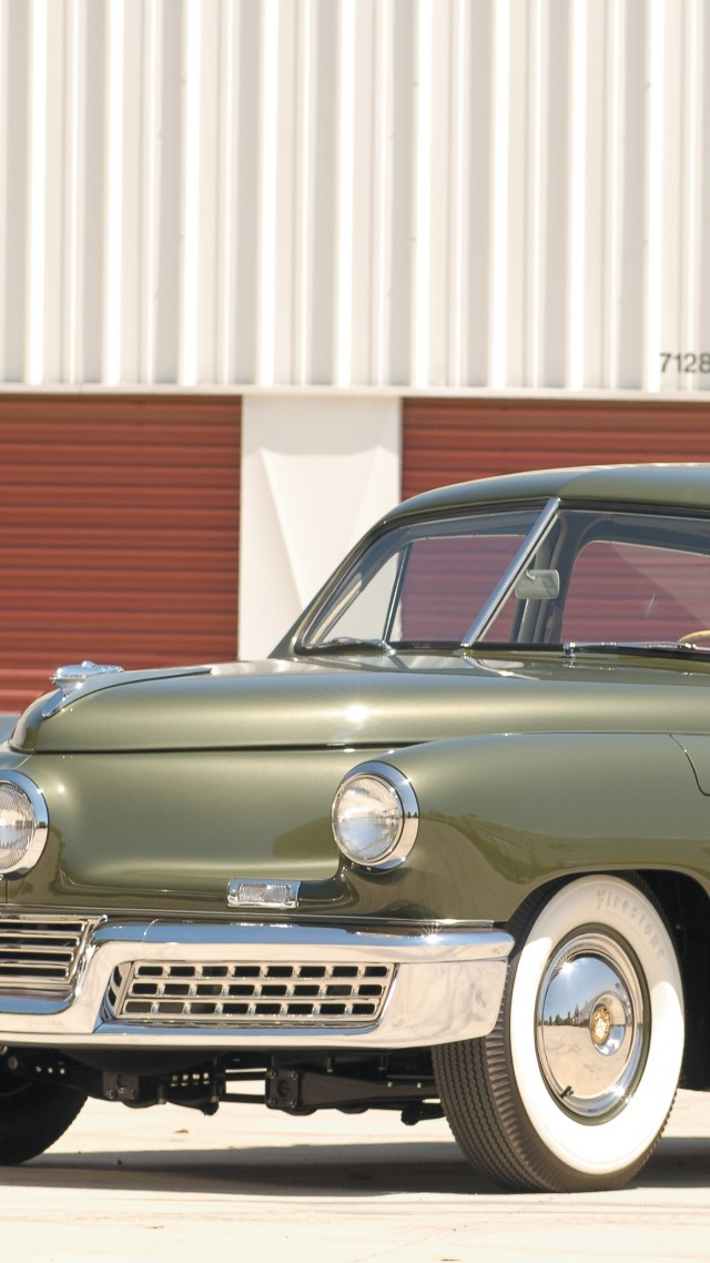 Tucker 48, classic cars, Preston Tucker, retro, green, front, side, buy, rent (vertical)