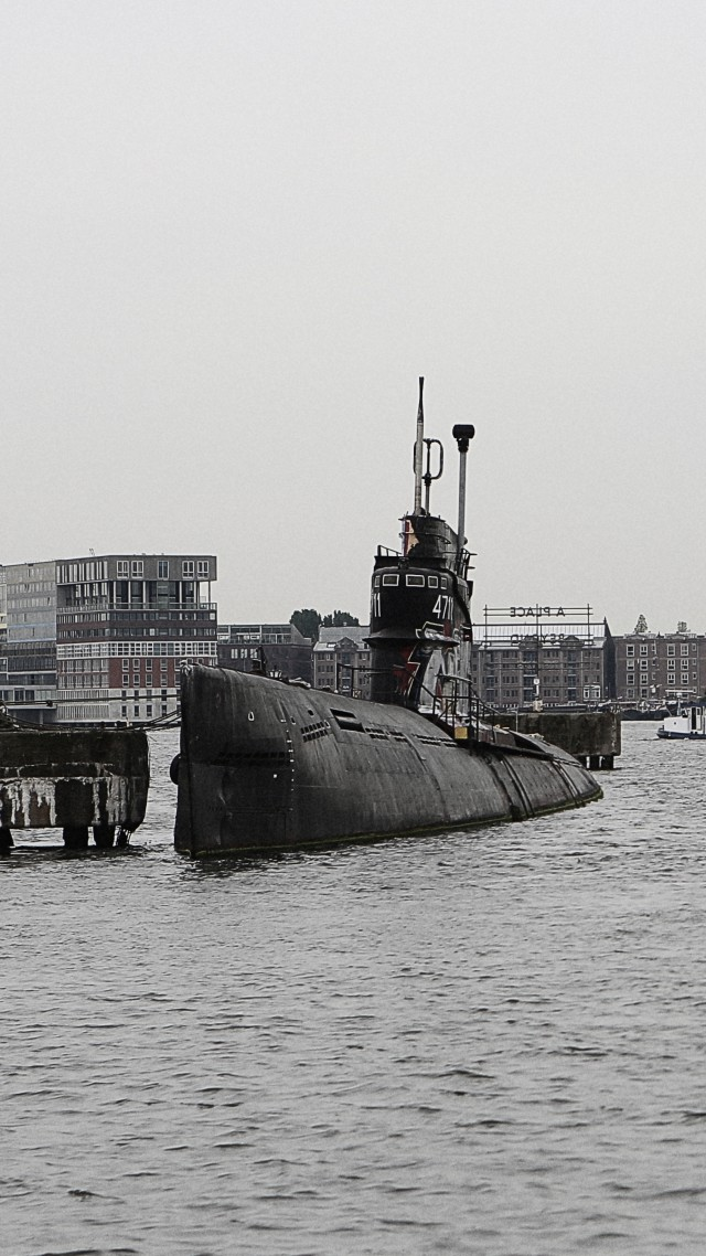 submarine, military, Amsterdam, Royal Netherlands Navy, sea, port (vertical)