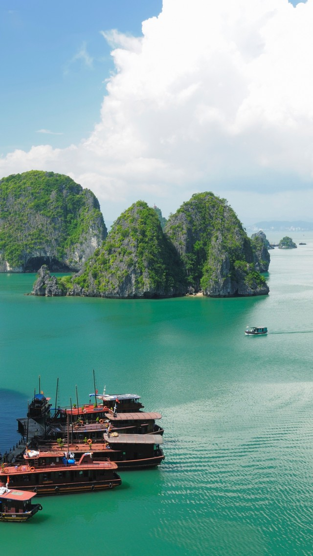 Ha Long Bay, 5k, 4k wallpaper, 8k, Halong Bay, Vietnam, mountains, cruise, travel, rest, boat, river (vertical)