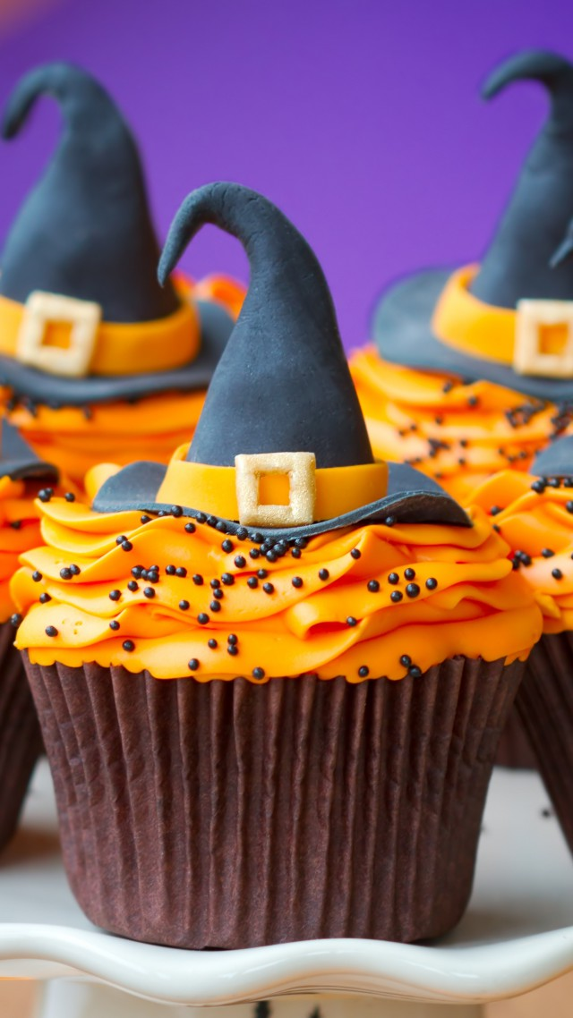 Cupcakes, Helloween, Witch Hats, desserts, pastries, cream, powdered, sugar, orange (vertical)