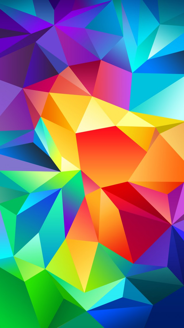 polygon, 4k, HD wallpaper, android wallpaper, triangle, background, orange, red, blue, pattern (vertical)