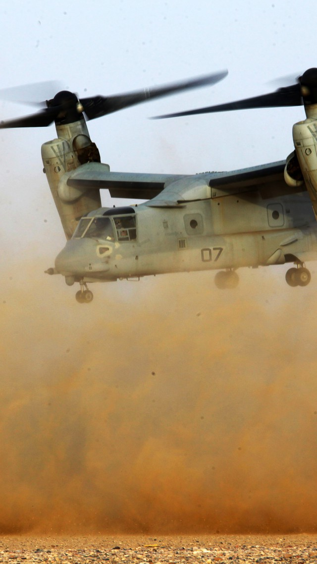 V-22 Osprey, Osprey, Bell, Boeing, tiltrotor, multi-mission aircraft, desert, US Army, U.S. Air Force (vertical)