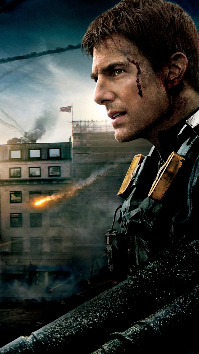Edge of tomorrow, movie, tom cruise, battle, fire, smoke (vertical)