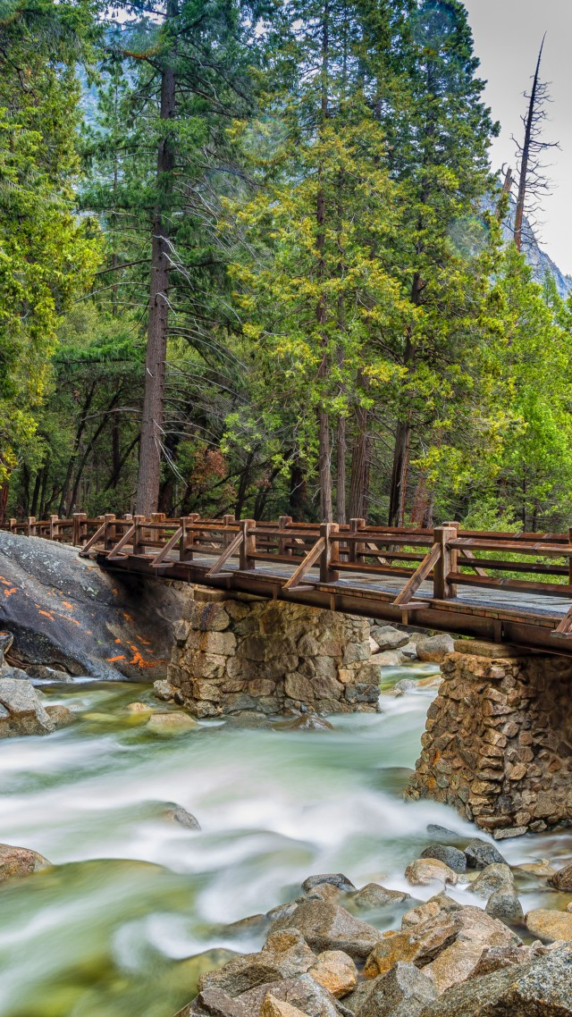 Yosemite, 5k, 4k wallpaper, 8k, forest, OSX, apple, mountains, bridge (vertical)