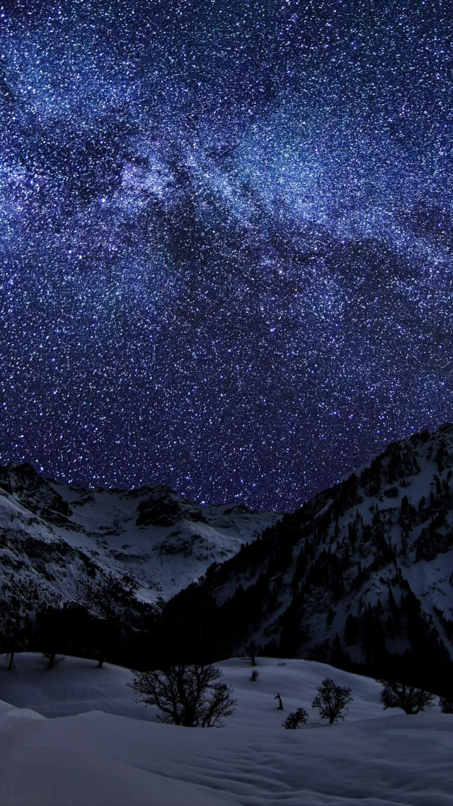 night sky, earth, sky, snow, stars, night, sea, mountain, cloud, light (vertical)