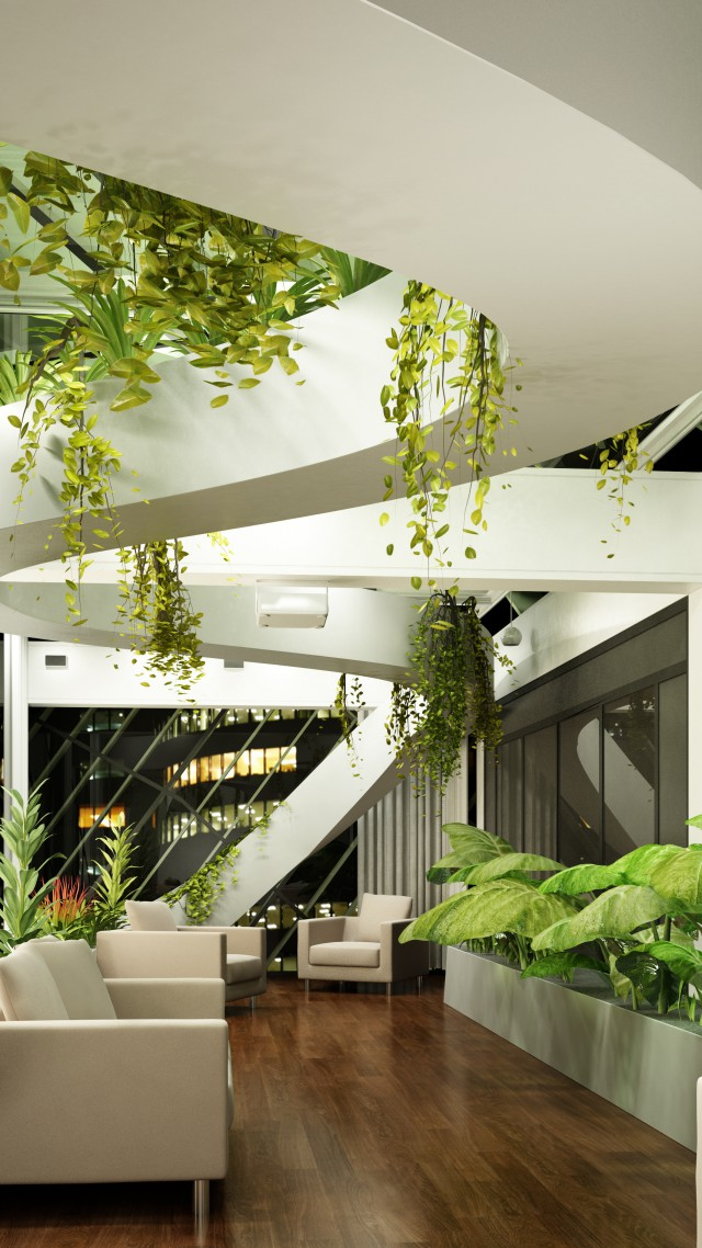 Wallpaper Living Room Design High Tech Modern Plants Light Shades Architecture 4409
