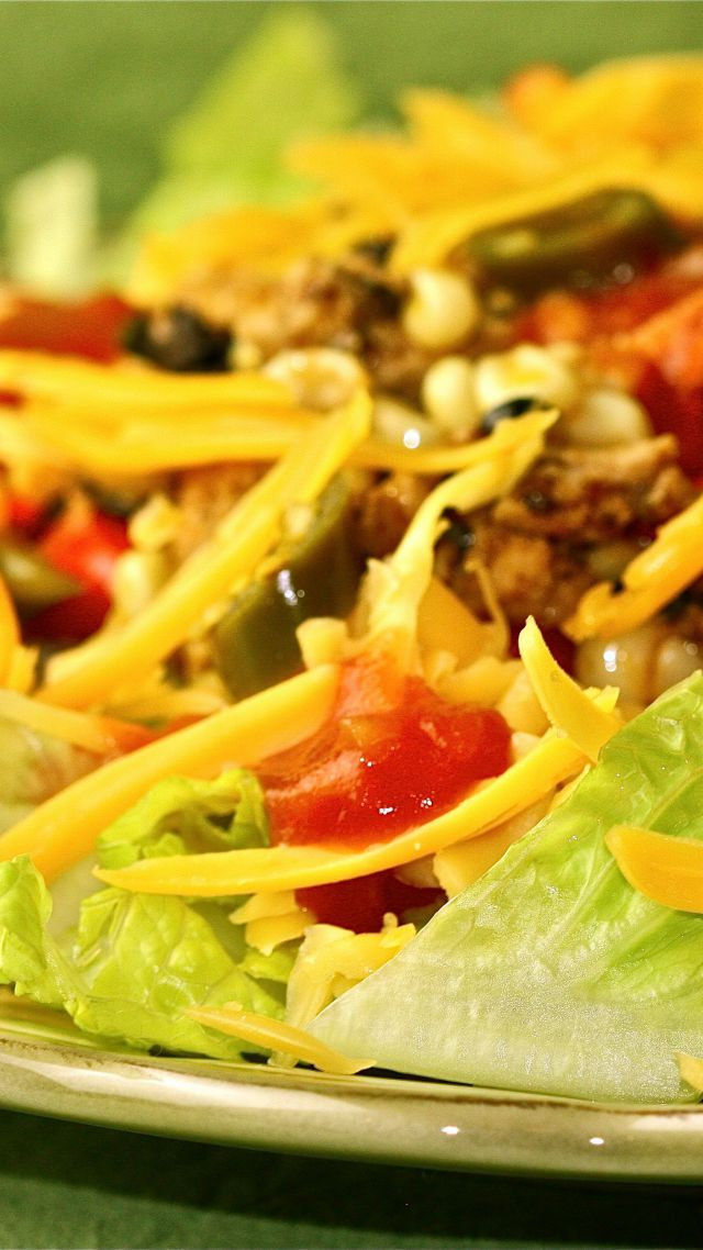 Taco salad, pasta, soybeans, asparagus, tomato (vertical)