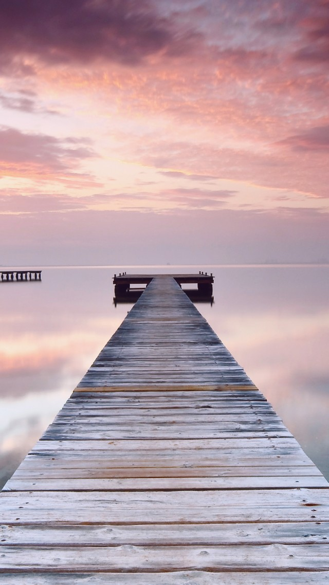 Spain, 5k, 4k wallpaper, pink, sky, clouds, ocean, bridge, reflection (vertical)