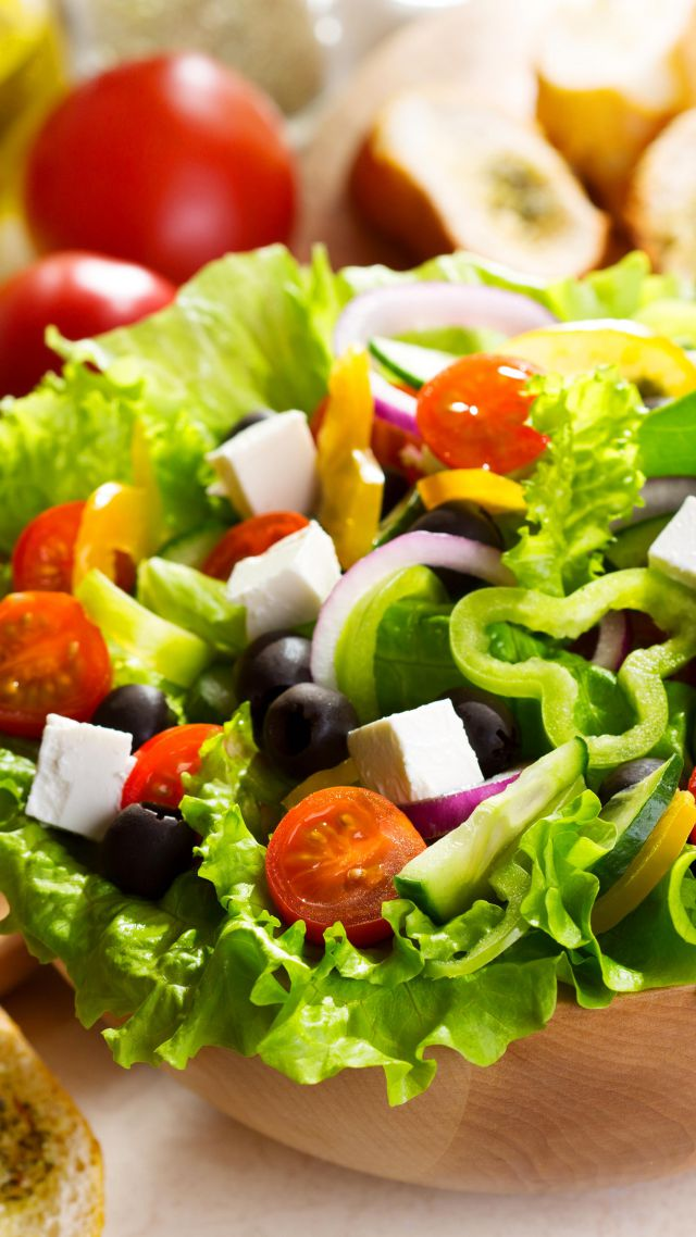 Wallpaper Greek Salad Tomato Olives Peppers Onions