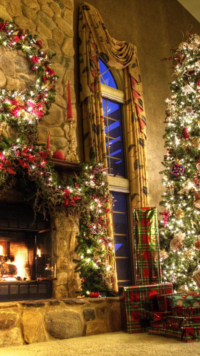 room new year fireplace decor fir tree fire lights room
