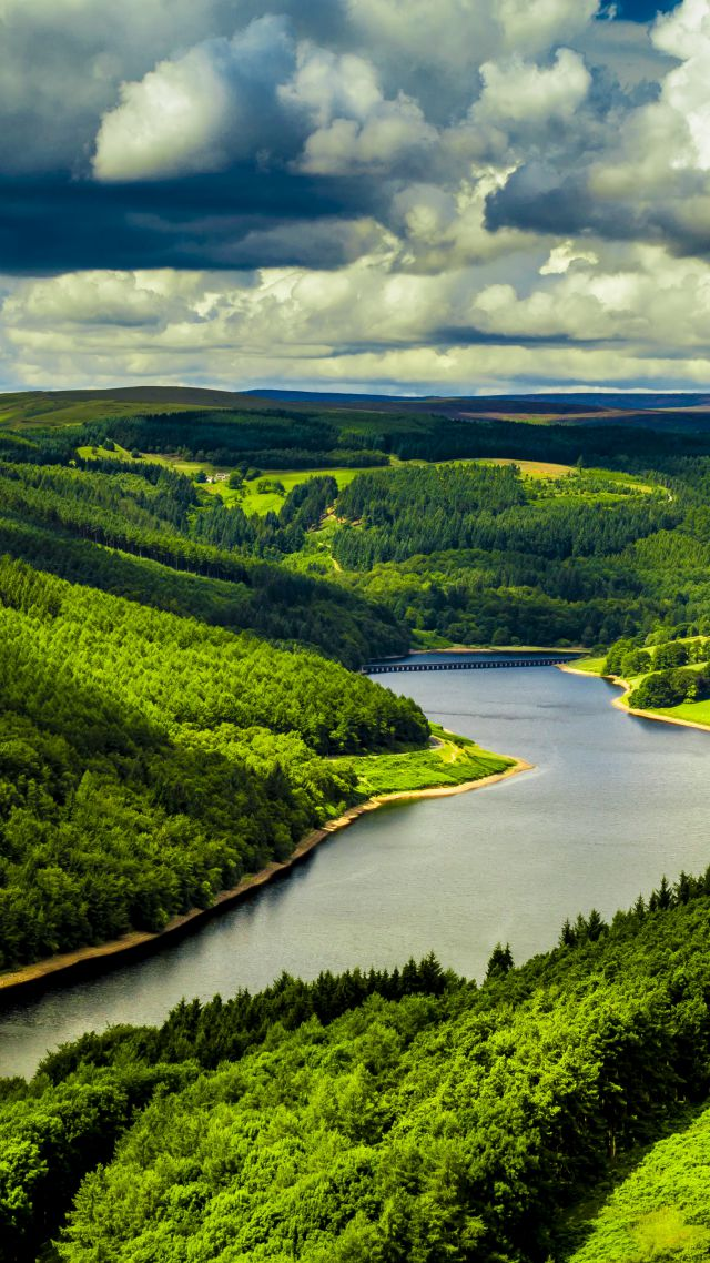 UK, 4k, HD wallpaper, hills, river, trees, sky (vertical)