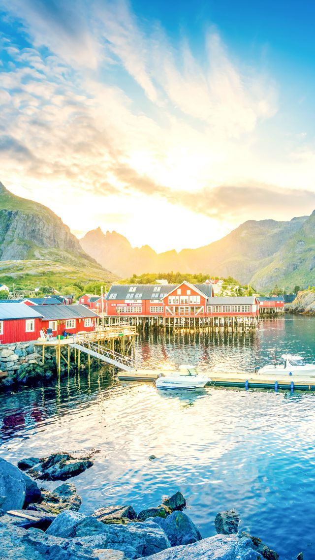 Lofoten, 5k, 4k wallpaper, 8k, Norway, lake, mountains, house (vertical)