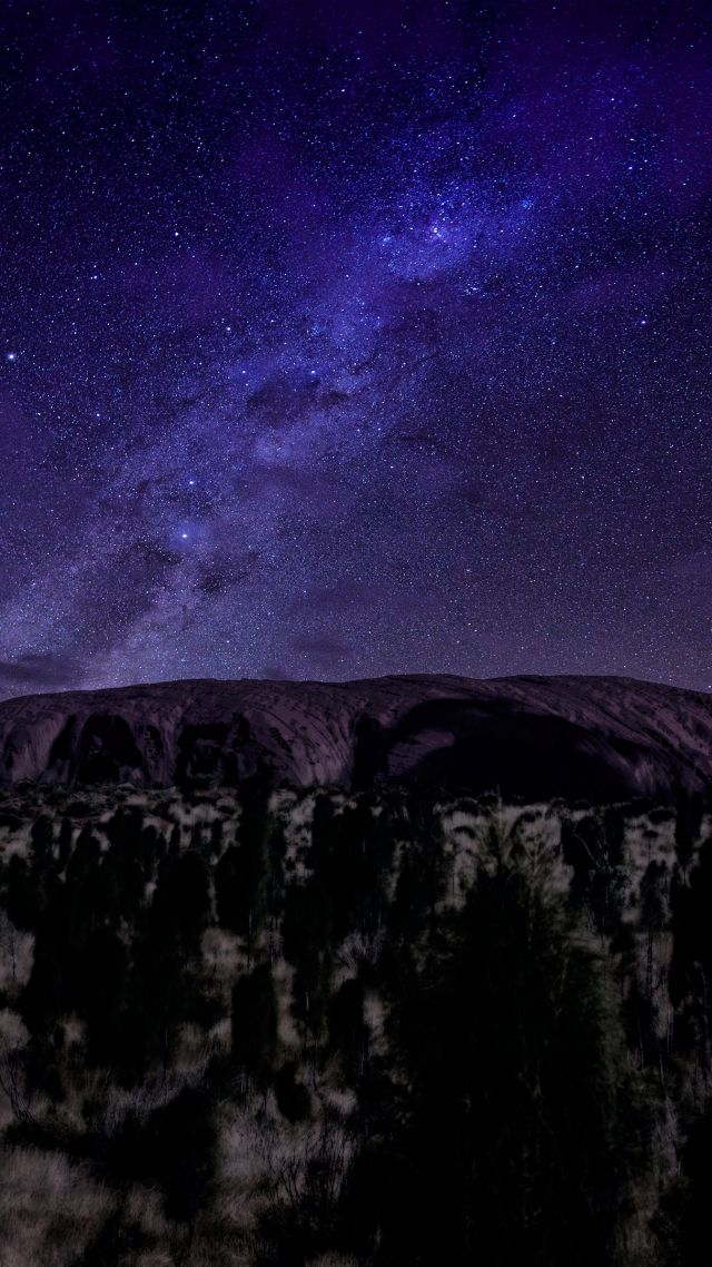 Ayers, 5k, 4k wallpaper, mountains, night, stars, trees (vertical)